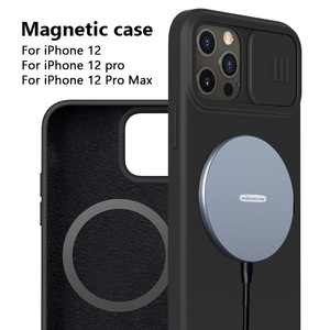 Image 1 - NILLKIN Magnetic Case For iPhone 12 Pro Max Liquid Silicone Soft Case Slide Camera Protect Privacy Back Cover for iPhone 12 Pro
