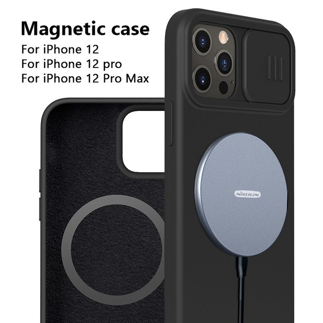 NILLKIN Magnetic Case For iPhone 12 Pro Max Liquid Silicone Soft Case Slide Camera Protect Privacy Back Cover for iPhone 12 Pro