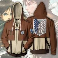 Anime Attack On Titan Cosplay Hoodies 3D Print Yeager Eren Hoodie Hoody Hip Hop Casual Coat Sweatshirts Hooded Casual Coat