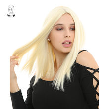 WHIMSICAL W 14 inch Short Straight Wigs 613 Color Synthetic Wig For Women Natural Middle Part Heat Resistant Hair(China)
