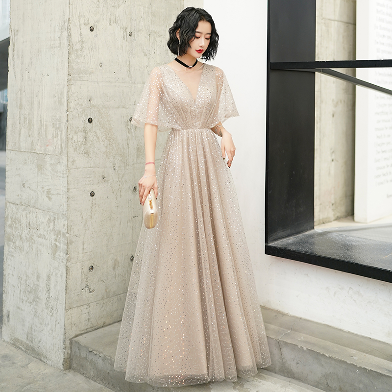 2020 New Sequins Evening Dress Long Illusion V-Neck Evening Gown A-Line Sexy Backless Formal Dress Brilliant Princess Dress