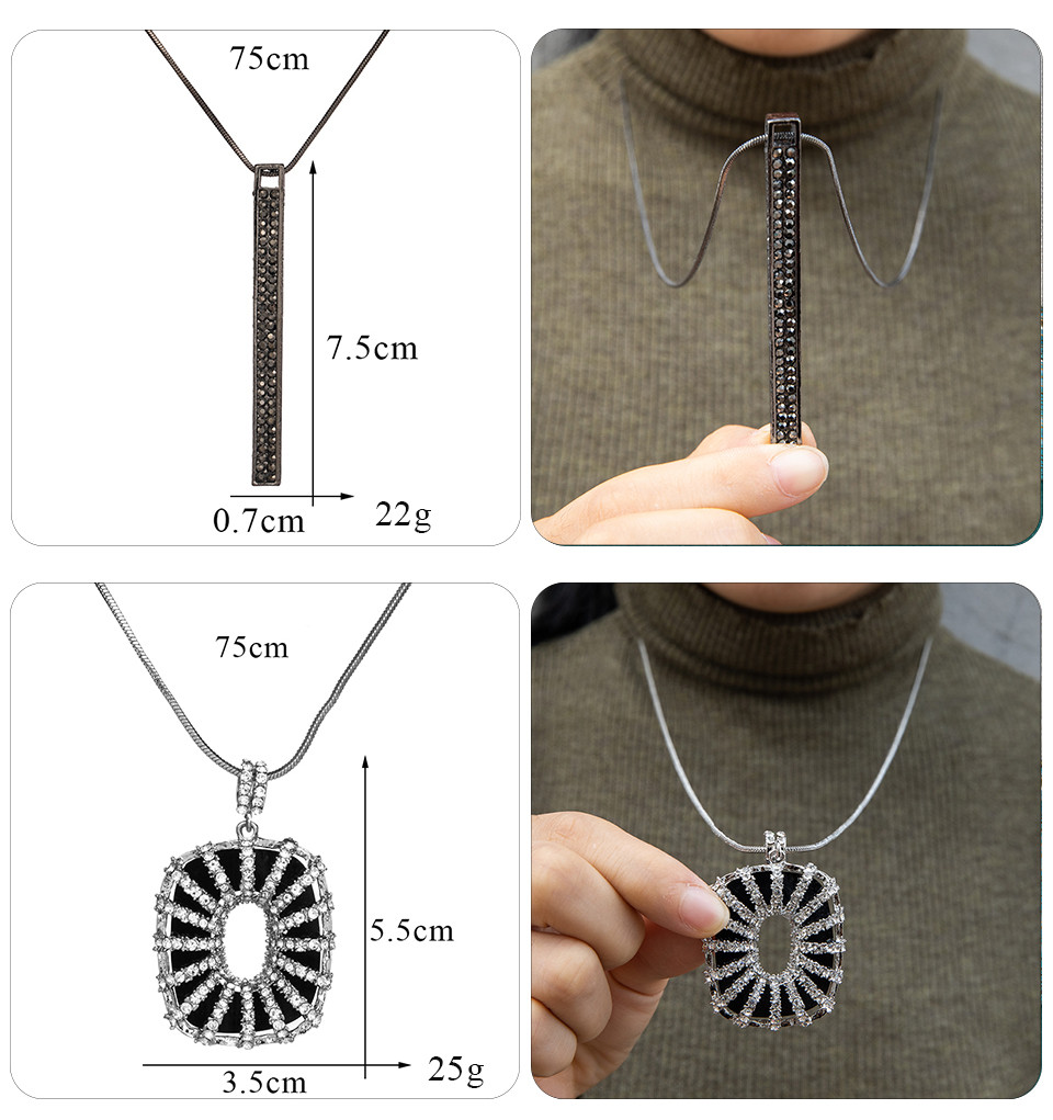 Simple Sweater Coat Necklaces Ladies Girls Long Black Leaf Natural Peacock Feather Crystal Pendant Necklaces for Women Jewelry  (123)