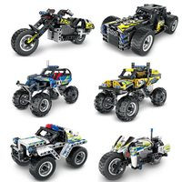 QIHUI 5801 5806 Science And Technology Machinery Warrior Fit Race Car Model Boy DIY Educational Assembled Building Blocks Toy