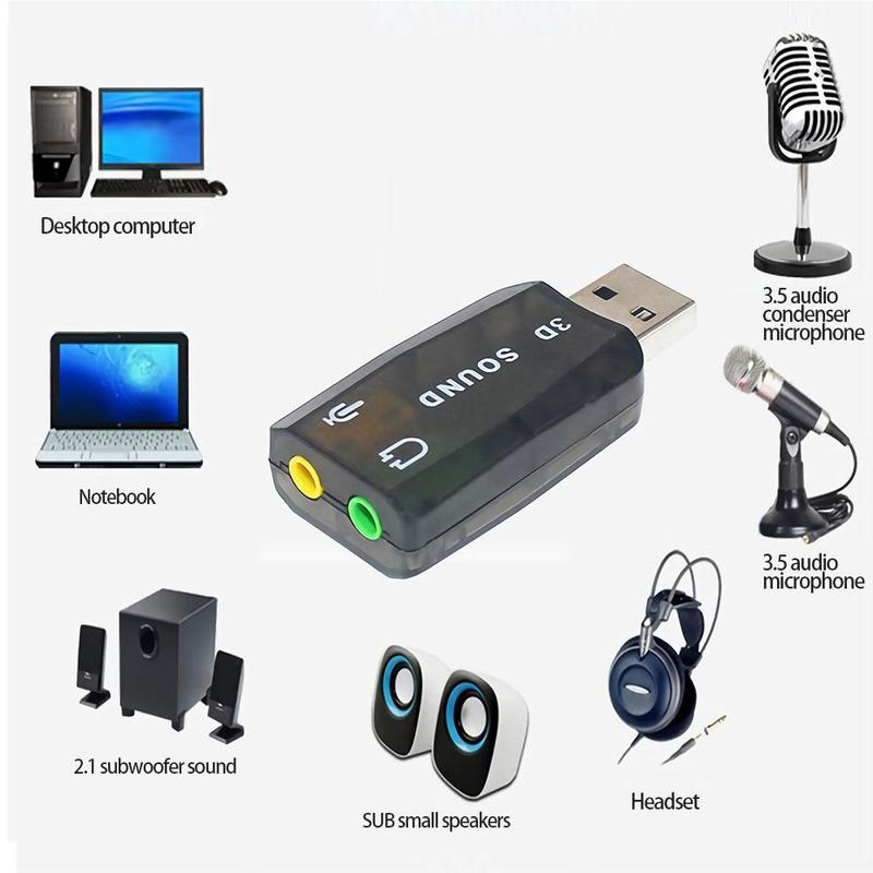 External USB Sound Card Adapter Audio 5.1 Virtual 3D USB To 3.5mm Microphone Speaker Headphone Interface For Laptop PC Computer