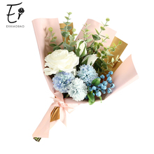Erxiaobao Pink White Red Rose Artificial Flowers Pompon Leaf Silk Fake Flower Bouquet for Wedding Bridal Valentines Day Gift