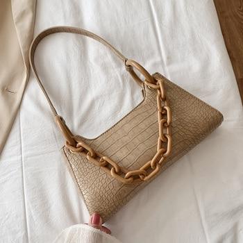 Thick Chain Design Small PU Leather Shoulder Bags For Women 2020 Elegant  Handbags Female Travel Crocodile Pattern Hand Bag