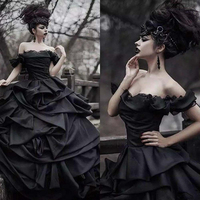 radition Black Gothic Wedding Dresses Victorian Punk Ball Gown Wedding Dresses Off The Shoulder Tie Up Satin Princess Bride Gown