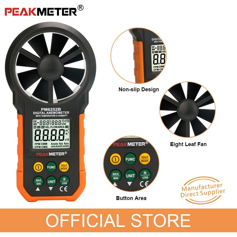 Peakmètre anémomètre numérique vitesse de l'air vitesse du vent mesure vitesse débitmètre d'air température humidité LCD Sceen MS6252B - 5