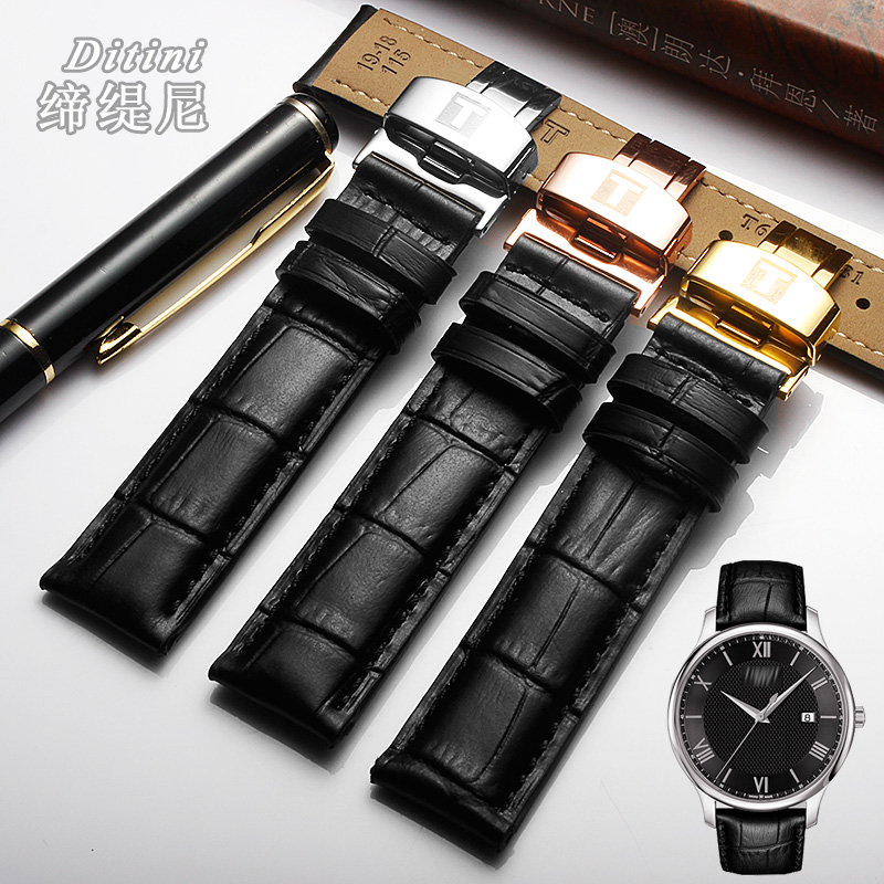 <font><b>19MM</b></font> Black For Tisso 1853 T41 Locke <font><b>PRC200</b></font> T461 T17 Watch Band cow Leather Watch Strap Watches Accessories image