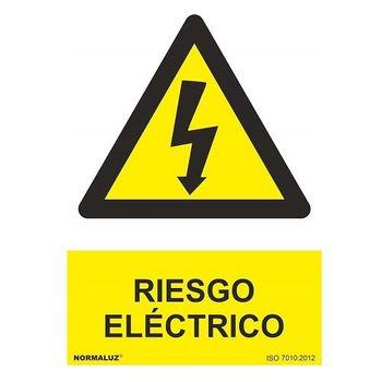 Señal adhesiva Riesgo Electrico 10x15cm Amarillo