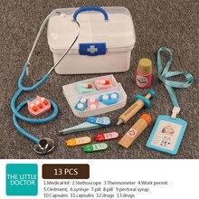Doctor toys Pretend Play Children simulation toy wooden medical kit box stethoscope Kids Medicine Chest Set Interest Development