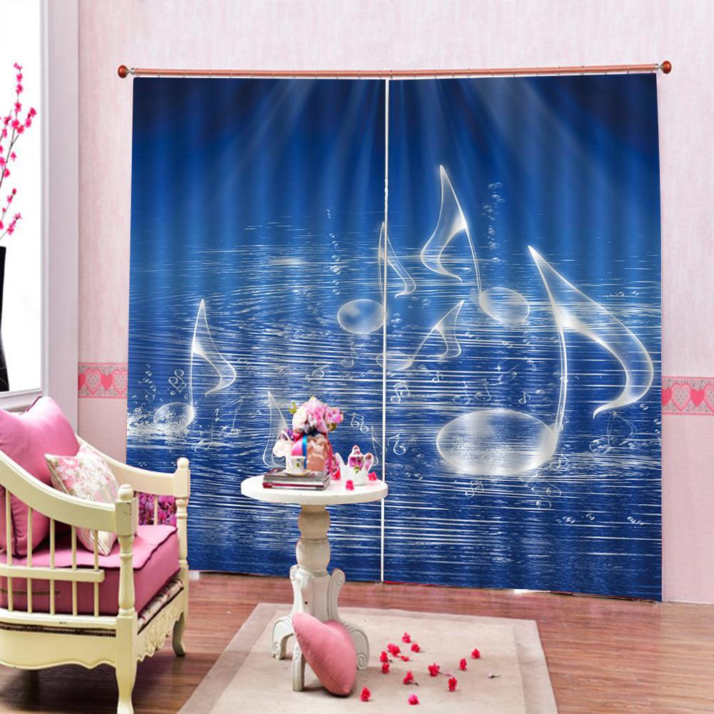 blue curtains music Decoration curtains Luxury Blackout 3D Window Curtains For Living Room Bedroom Customized size
