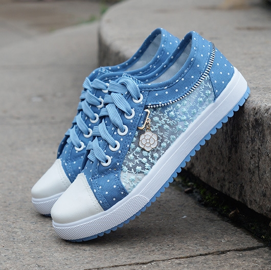 2018 Summer Korean Version Of The New Women's Hollow Denim Mesh Shoes Flat Casual Shoes Breathable Shoes Students Net Shoes