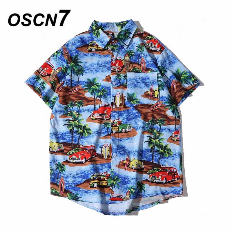OSCN7 Casual Streetwear Beach Printed Short Sleeve Shirt Men 2020 Hawaii Oversize Fashion Harujuku Women Shirts 2088