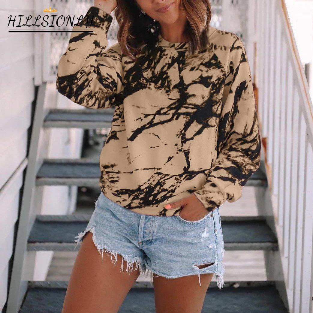 Hillsionly Plus Size T Shirts Fashion Womens Casual Loose O-neck Tie-dye Printed Long Sleeve Tops Girls T-shirt Женские Футболки 1