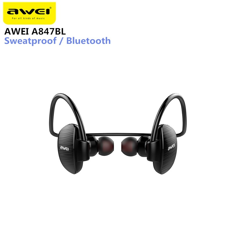 Awei A847BL Wireless Sweatproof Earphone Ear Hooks Neckband Style Bluetooth Sports Earbuds For Mobile Phone