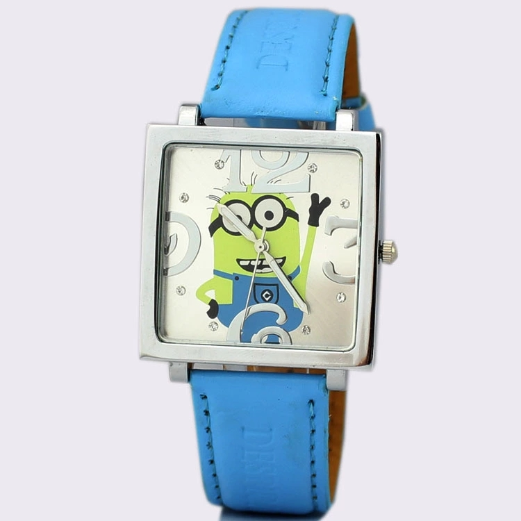 Square Dial Cartoon Little Yellow God Stole My Father Despicable I Big Eyes Cute Children Students Child Belt Watch