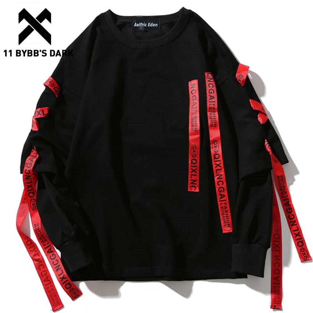 11 BYBB'S DARK 2020SS Ribbons Hoodies Streetwear Men Sweatshirts Punk Rock Long Sleeve Streetwear Hoodie Tops Harajuku Hoodie