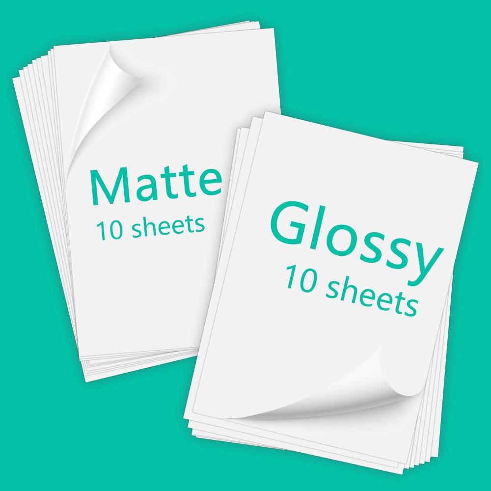40 Sheets Printable Vinyl Sticker Paper Inkjet Photo Glossy Matte Self-adhesive Sticker Labels Copy Paper for Inkjet Printer