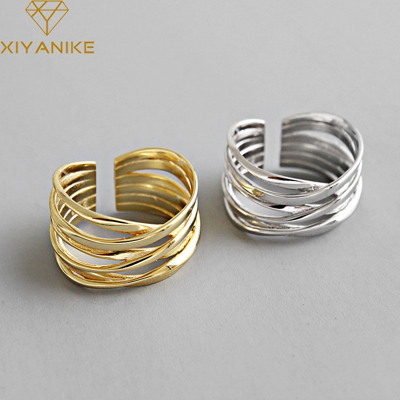 XIYANIKE 925 Sterling Silver Rings Creative Multilayer Winding Line Geometric Handmade for Women Couple Size 17.2mm Adjustable
