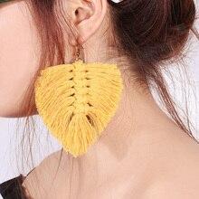 1 Pair Wool Hand-woven Leave Shape Earrings Straw Long Size Earrings Yellow
