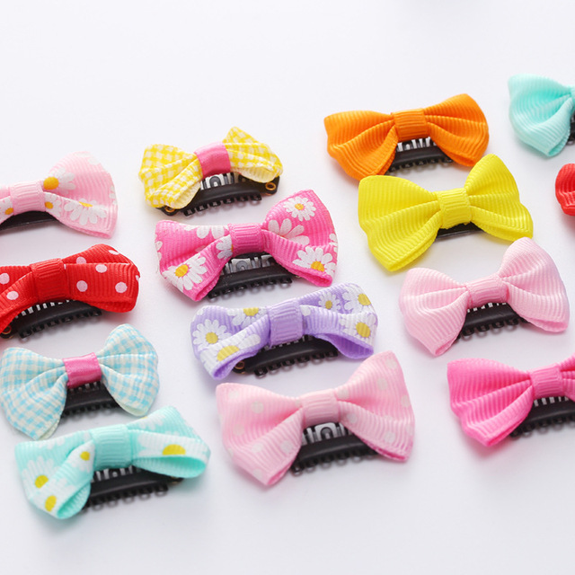 10Pcs/lots Candy Color Baby Mini Small Bow Hair Clips Safety Hair Pins Barrettes for Children Girls Kids Hair Accessories