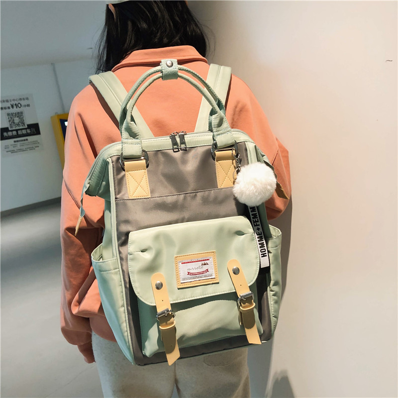 Korean Student Bag Youth Travel Large Capacity Backpack College Style Hair Ball Decoration image