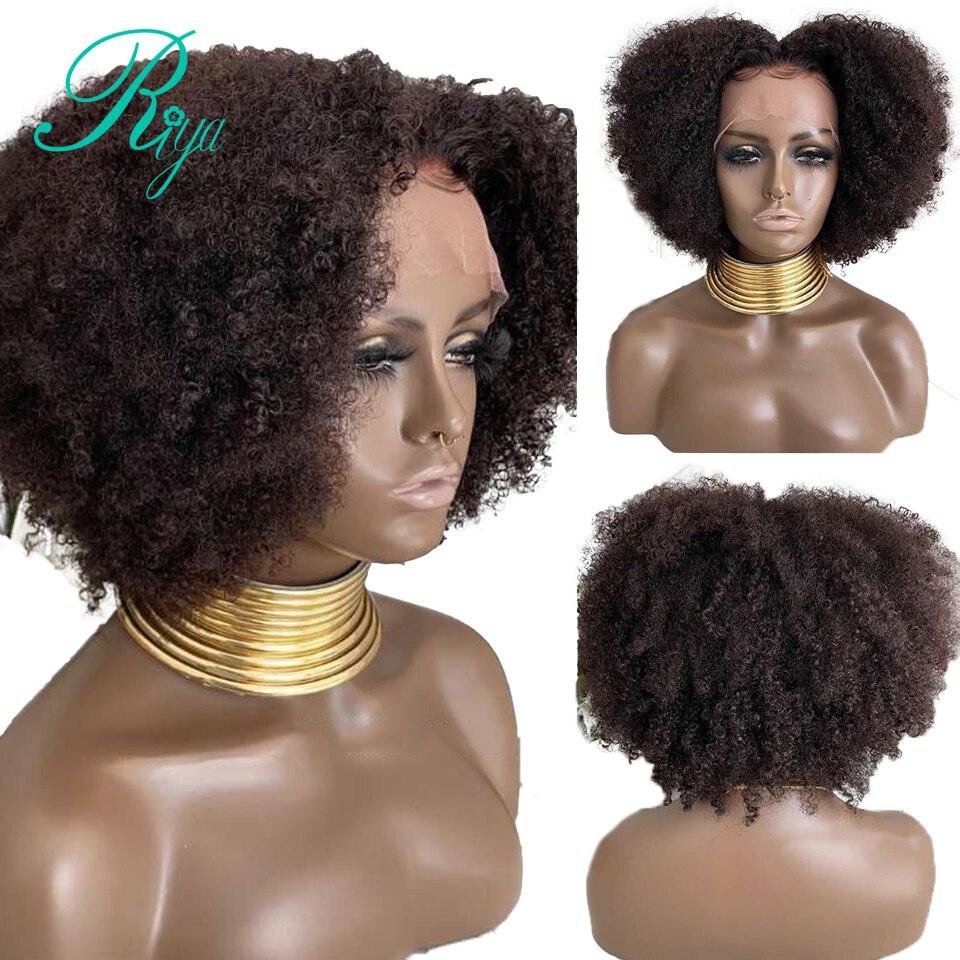 4x4 fechamento do laço peruca pixie curto afro kinky encaracolado bob corte sem corte frente do laço perucas de cabelo humano para preto mulher preplucked indiano