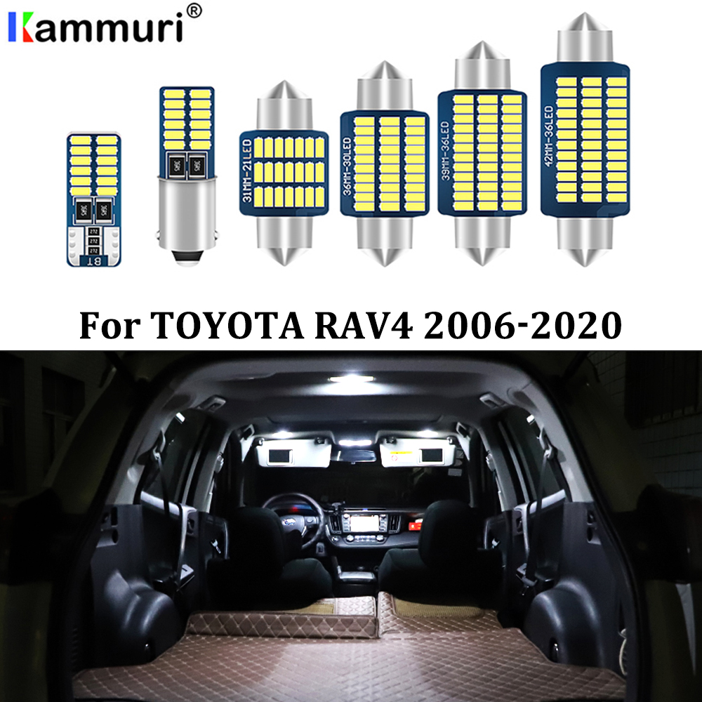 KAMMURI 8X No Error White LED Car Interior Bulbs Package Kit For 2006- 2017 2018 2019 2020 Toyota RAV4 RAV-<font><b>4</b></font> LED Interior Lights image