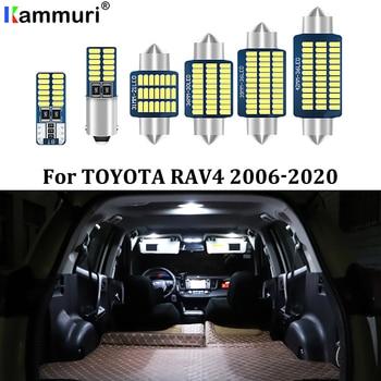 KAMMURI 8X No Error White LED Car Interior Bulbs Package Kit For 2006- 2017 2018 2019 2020 Toyota RAV4 RAV-4 LED Interior Lights 6x white canbus led car interior lights package kit for 2003 2016 2017 2018 2019 toyota corolla led interior dome trunk lights