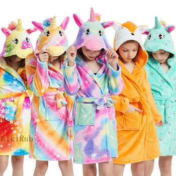 2020 Cartoon Children's Robe Flannel Baby Bathrobe Long Sleeve Hooded Kids Bath Robe Lovely Unicorn Animal Child Boy Girls Robes