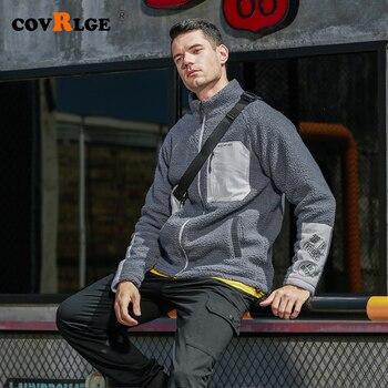 Covrlge Personalized Pocket Contrast Color Stitching Lamb Wool Sweater Men Plus Velvet Thick Warm Cardigan Jacket Men MWK020 men s contrast color stitching pu leather jacket khaki size xl
