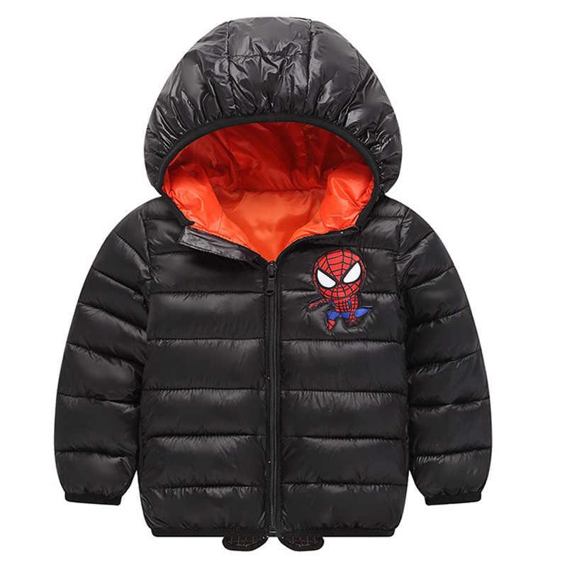 תינוקות בנות מעיל סתיו חורף תינוק מעילי נערי בני מעיל הילדים ספיידרמן כותנה חם סלעית הלבשה עליונה ילדי בגדים