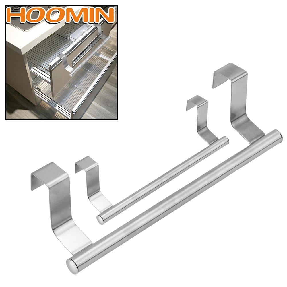 HOOMIN Over Door Cabinet Shelf Rack Bar Bathroom Kitchen Hanging Holder Home Storage Towel Rack 2 Size Stainless Steel