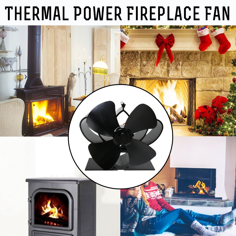 Mini Stove Fan 4 Blade Fireplace Fan Heat Komin Powered Wood Burner Eco Fan Quiet Efficient Home Friendly Heat Distribution Tool