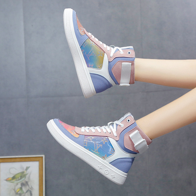 High top sneakers for women street  hip hop leather sports shoes 3