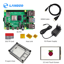 raspberry pi 4 4gb kit with display Raspberry Pi 4 Model B PI 4B+3.5 inch screen+HeatSink+Power Adapter+Case +32GB SD+HDMI Cable