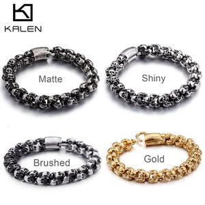 Image 2 - KALEN Punk Skull Bracelets Men Stainless Steel Shiny Matte Skull Charm Link Chain Brecelets Male Gothic Jewelry 2020