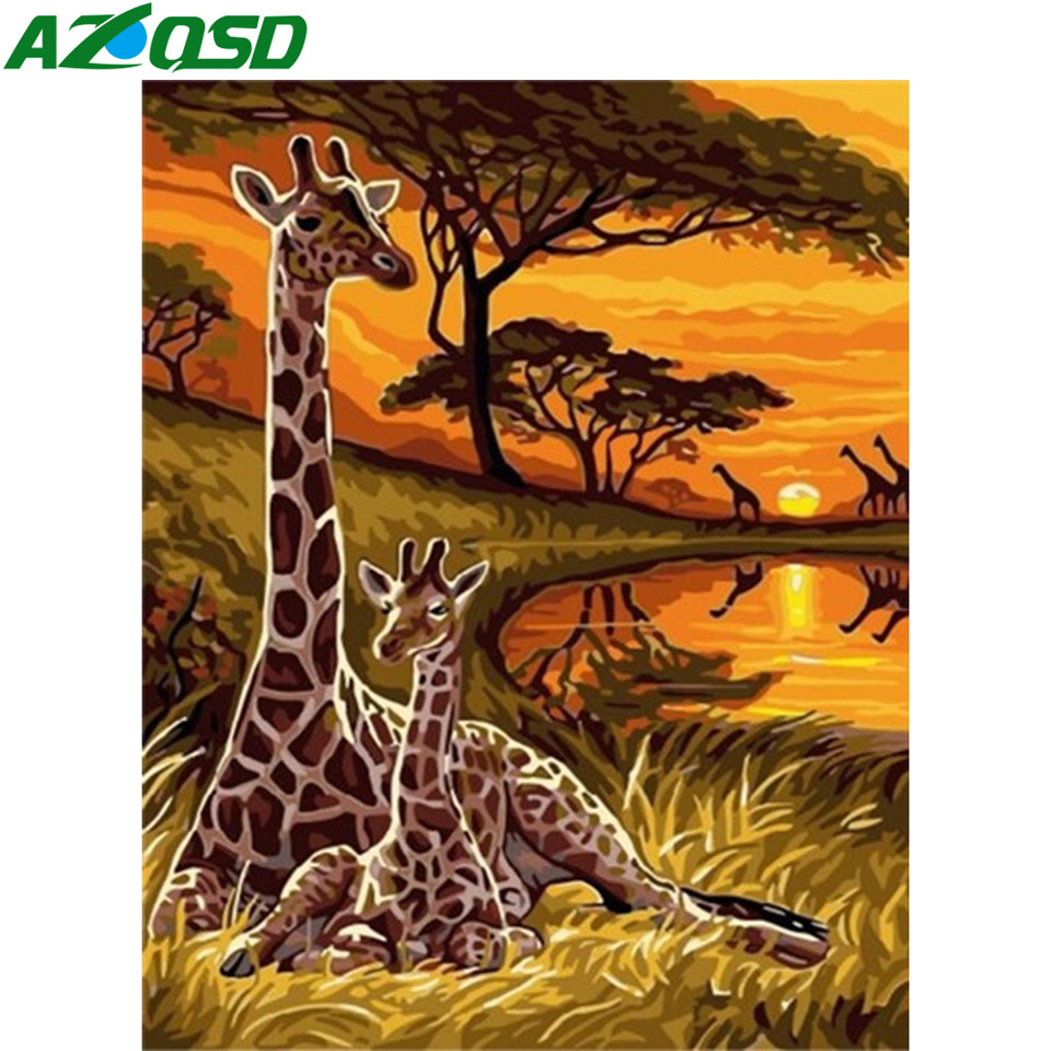 Unframe Acrylic Paint By Numbers On Canvas Animal DIY Handicraft Adult Coloring