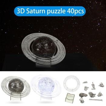 Juegos de mesa para niños, rompecabezas de cristal 3D de Saturno Planet