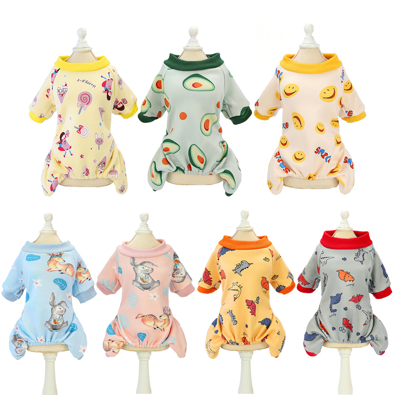 Cute Pattern Pet Clothes Cute Dog Pajamas Cotton Avocado Cat Puppy Tracksuit  Small Dogs Jumpsuit Chihuahua Overalls 7 Colours