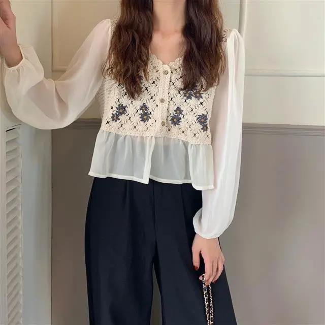 New White Vintage Embroidery Chiffon Blouses Women Sexy Puff Sleeve Tops Elegant Lady Ruffles Shirts Fall Blusas Mujer Plus Size 5