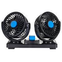 Tirol Car Mounted Double Headed Fan 4 Inch 12V Strong Mute Refrigeration Multi functional Convenient Car Electric Fan