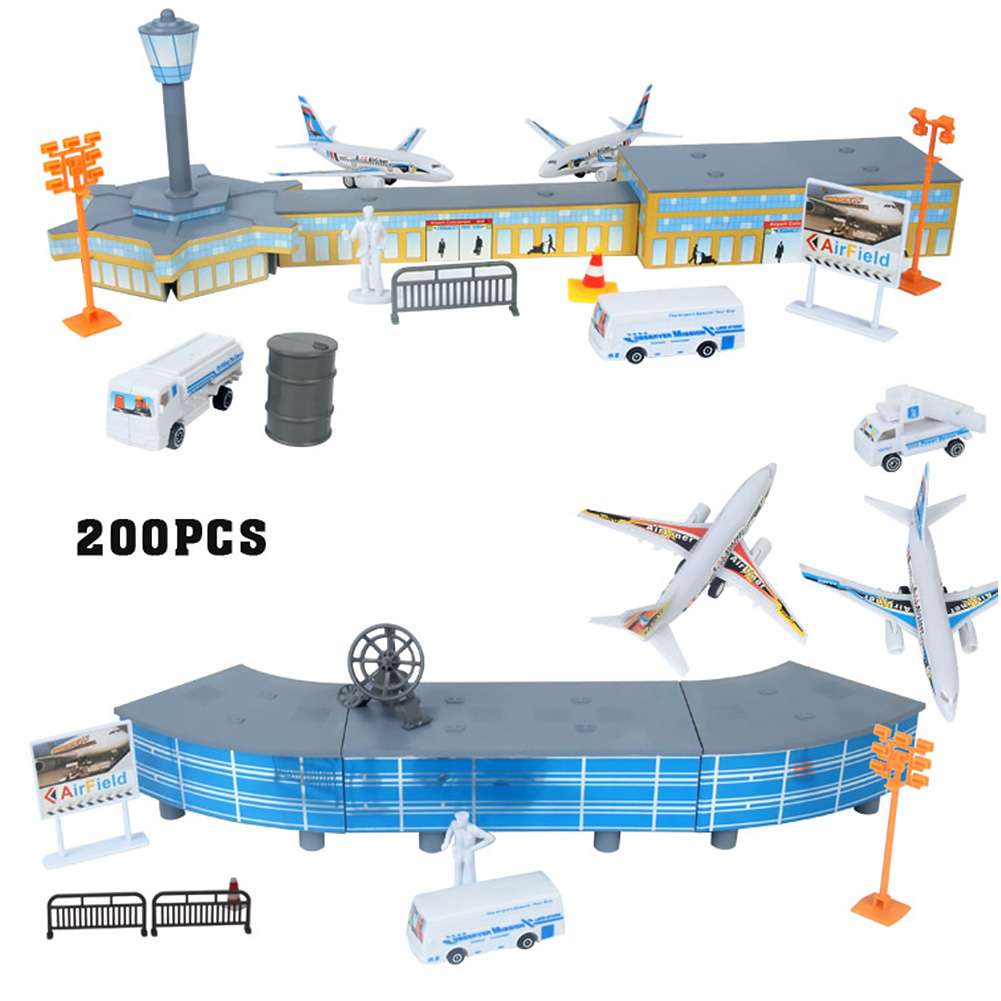 200pcs Roadblock Assembled Toys Play House Kids Gift Aircraft Model Set Simulation Airport DIY Building Street Lamp Educational