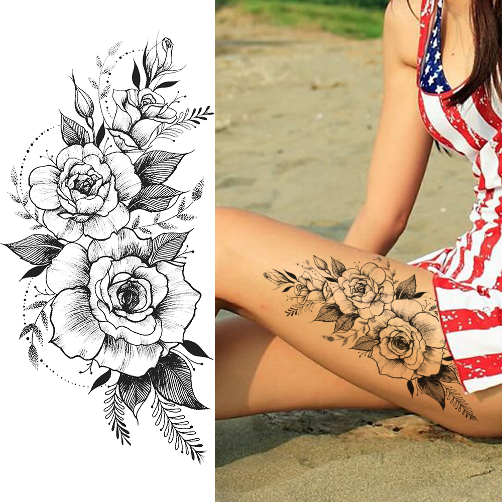 Beautiful Flower Temporary Tattoos Sticker Fake Black Rose Tattoos