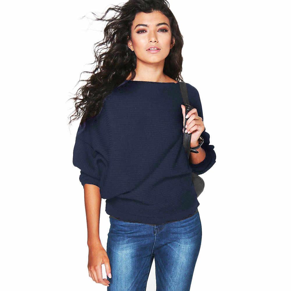 새로운 가을 겨울 2019 캐주얼 여성 스웨터 batwing 긴 소매 니트 스웨터 솔리드 컬러 풀오버 스웨터 루스 코튼 탑스