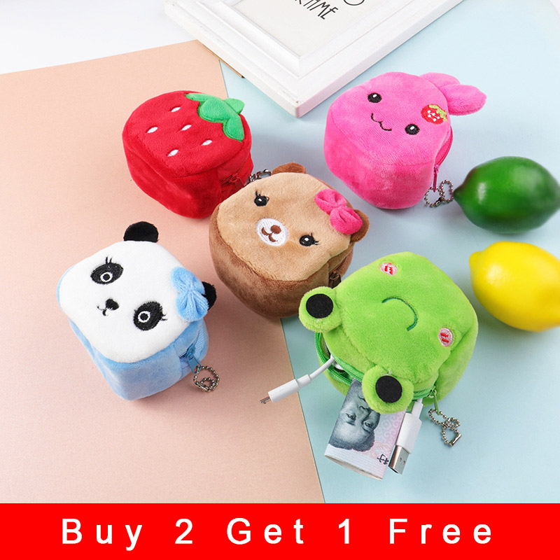 Plush Wallet Cartoon Stereo Coin Purse Cute Animal Anime Function Coin Key Bag Ladies Children Student Girl Gift Pendant Toy M14