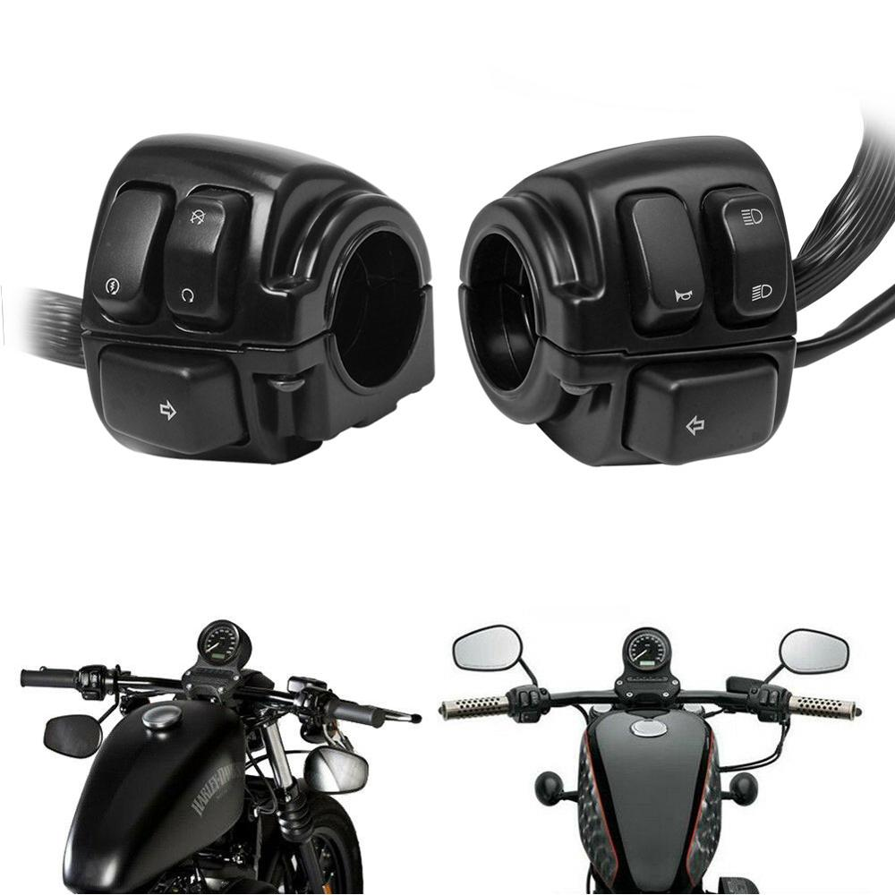 Motorcycle Black 1inch Handlebar Turn Signal Control Switch For Harley XL883 Sportster Dyna V-ROD Softail