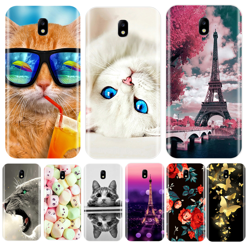 Phone Case For Samsung Galaxy J3 J4 J5 J6 J7 2016 2017 Soft Silicone Cute Cat Painted Back Cover For Samsung J2 J5 J7 Prime Case image