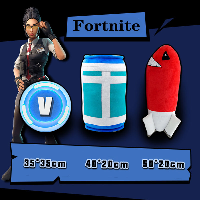 Fortnite Game Peripherals Plush Pillow Toys Movie & TV V Coin Bomb Cans Model Kid Birthday Toy Gift